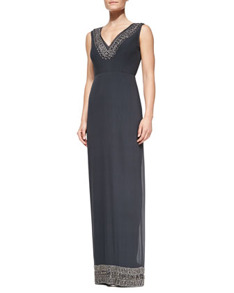 Sleeveless Beaded-Border Column Gown