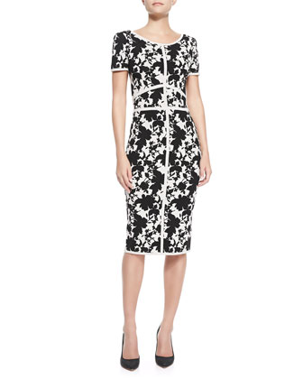 Short-Sleeve Seamed Floral Sheath Dress