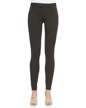 Skinny Ponte Ski Pants, Dark Chocolate