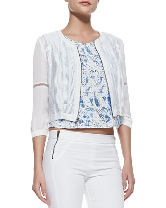 Willow Sheer Zip Jacket, Mona Sleeveless Print Top & Nine-Zipper Skinny ...