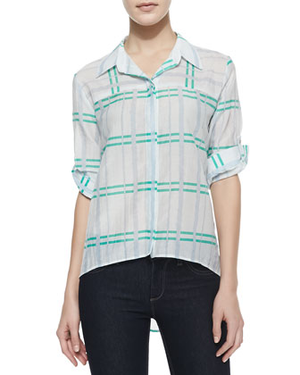 Teri Striped Silk Blouse With Roll-Up Sleeves