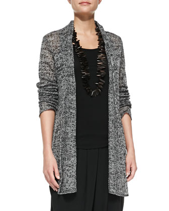 Linen Delave Mesh Cardigan, Jersey Long Tank & Slouchy Jersey Ankle Pants, ...