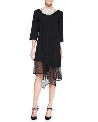 Half-Sleeve Crinkle Shrug & 3/4 Sleeveless Lace-Trim Dress, Women's