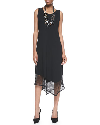 Half-Sleeve Crinkle Shrug & Sleeveless Lace-Trim Dress, Petite