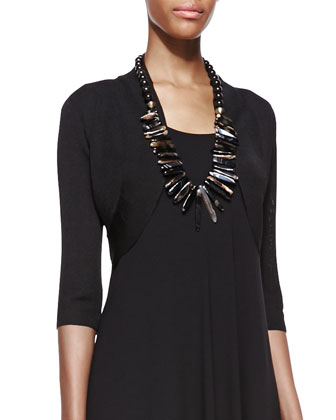 Half-Sleeve Crinkle Shrug, Black, Women's