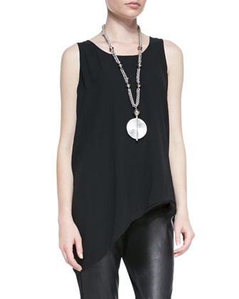 Airy Linen V-Neck Top, Silk Asymmetric Draped Shell & Ponte Leather-Blocked ...