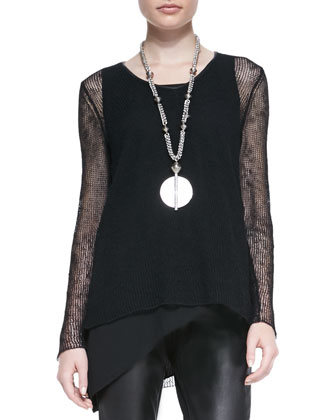 Airy Linen V-Neck Top, Petite, Black