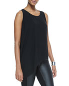 Silk Asymmetric Draped Shell, Black
