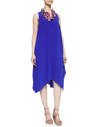 Silk Crepe de Chine Asymmetric Dress