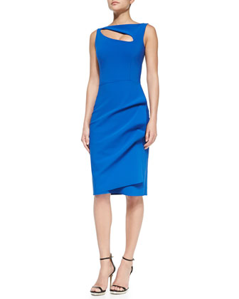Angie Boat-Neck Keyhole Cocktail Dress