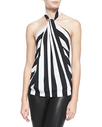 Loop-Front Chevron Striped Halter Top, Black/White