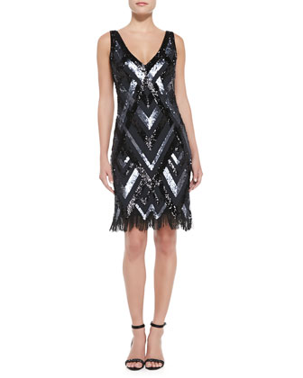Sleeveless Beaded Pattern Cocktail Dress