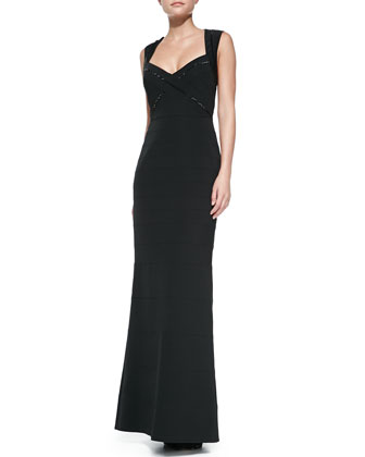 Sleeveless Sweetheart-Neck Gown, Black