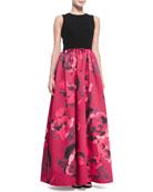 Sleeveless Floral-Skirt Combo Ball Gown