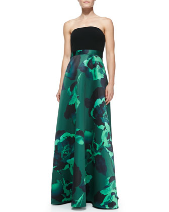 Strapless Floral-Skirt Combo Gown