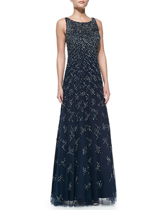 Sleeveless Beaded & Sequined A-Line Gown