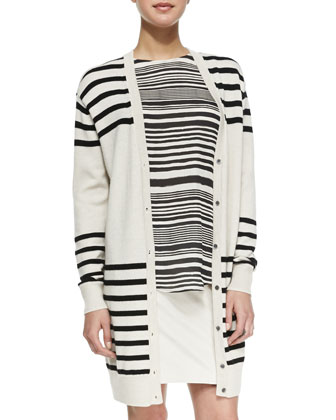 Striped Button-Front Cardigan, Striped Cowl-Back Silk Blouse & Asymmetric ...