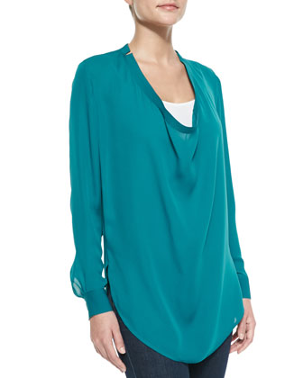 Silk Cowl-Neck Blouse, Med. Blue