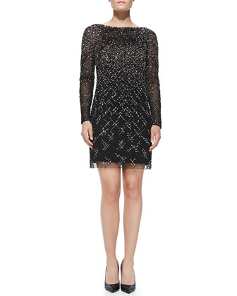 Long-Sleeve Beaded & Sequined Cocktail Dress