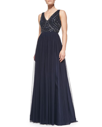 Sleeveless Beaded-Bodice Gown