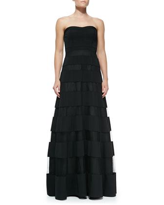 Strapless Overlay-Skirt Gown