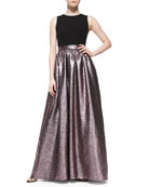 Sleeveless Metallic-Skirt Gown