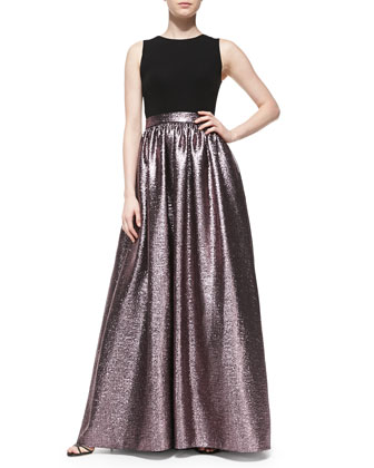 Sleeveless Metallic-Skirt Gown