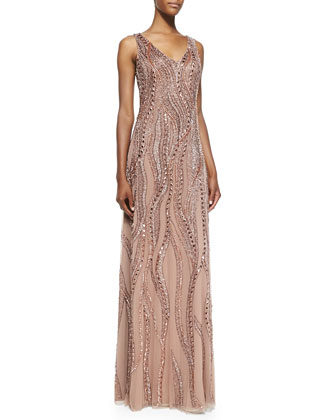 Sleeveless V-Neck Beaded Gown