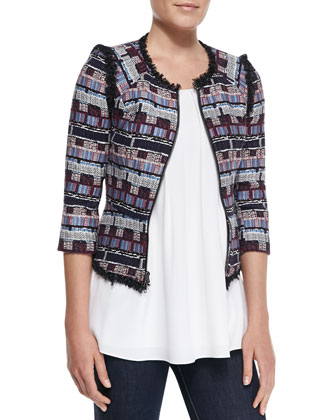 Fringe-Trim Tweed Zip Jacket & Pleated Cut-In Flowy Tank