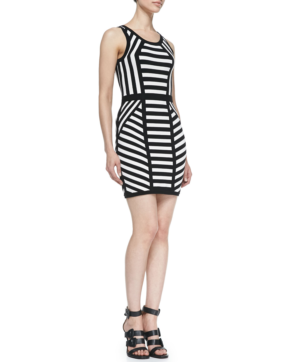 Womens Mitered Stripe Sleeveless Sheath Dress   Milly   Black/White (SMALL)