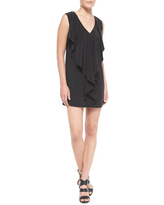 Cascade Matte-Silk Drape Sheath Dress