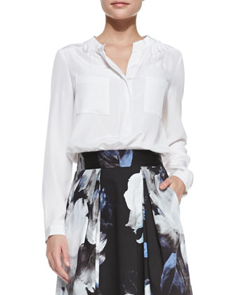 Gathered-Neck Long-Sleeve Silk Blouse & Katie Floral-Print A-Line Skirt