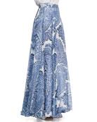 Watercolor Paisley-Print Maxi Skirt