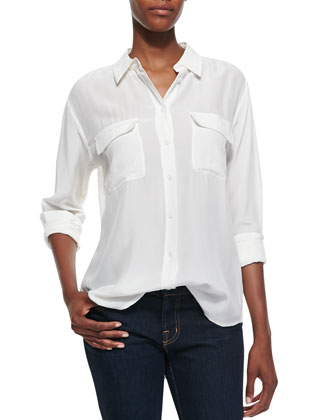 Signature Double-Pocket Blouse, Bright White