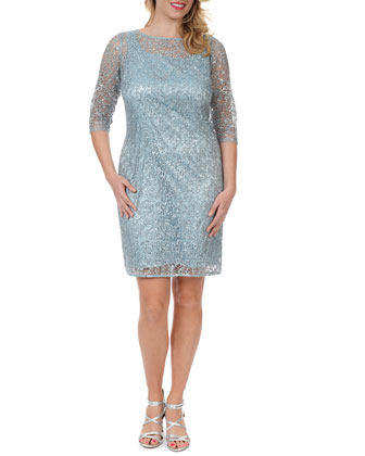 3/4-Sleeve Lace Overlay Cocktail Dress, Women's