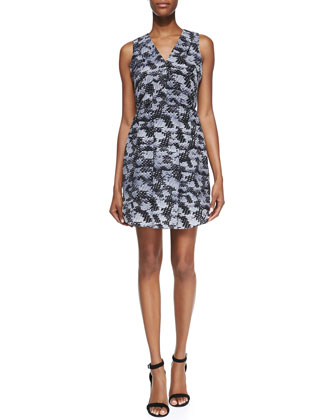 Summer Storm Printed-Silk Sleeveless Dress
