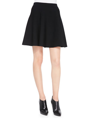 Stretch-Knit Flared Skirt, Black