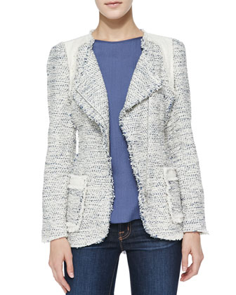 Colorblock Tweed Blazer, Navy Combo