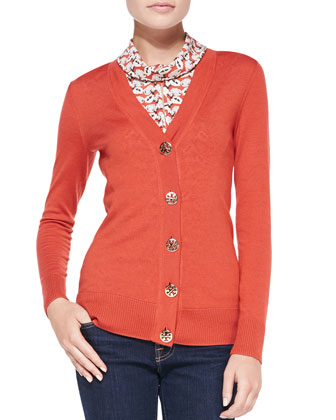 Simone Signature Knit Cardigan & Peg Silk Cowl-Collar Shell