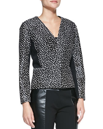 Imari Dotted Calf Hair Jacket & Mabley Ponte Faux-Leather Pants