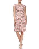 Sophia Cap-Sleeve Calyx Floral-Print Dress