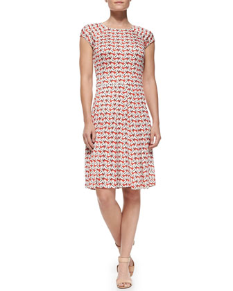 Sophia Cap-Sleeve Calyx Floral-Print Dress