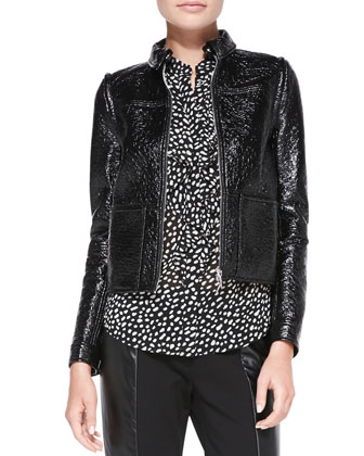 Fae Faux-Leather Jacket/Vest, Veta Ruffle-Front Printed Blouse & Mabley ...