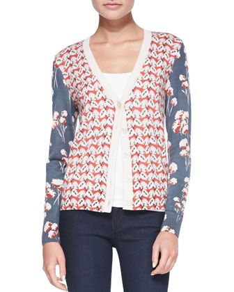Shia Mixed-Print Wool Cardigan & Super Skinny Denim Jeans