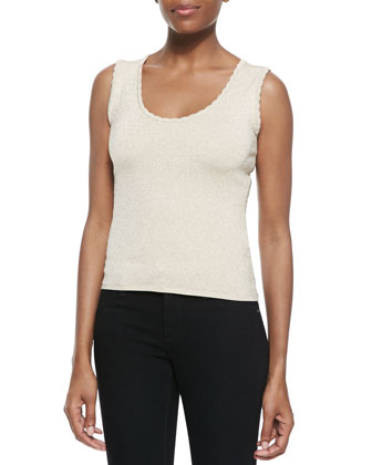 Open-Front Ripple-Knit Cardigan & Scalloped-Neck Knit Tank