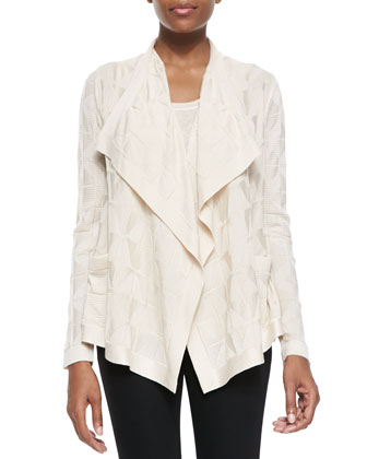 Solid Textured Knit Cardigan with Ruffle Collar