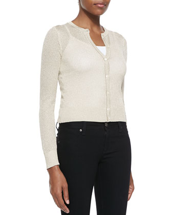 Semisheer Metallic Scallop-Knit Cardigan