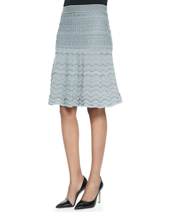Bubble-Stitch Cardigan, Tank & Metallic Knit Pleated Skirt