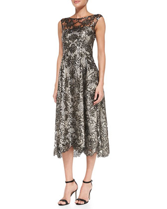 Sleeveless Lace Tea-Length Cocktail Dress