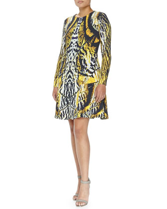 Abstract Print Swing Dress, Yellow/Black